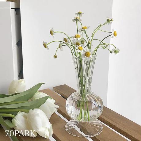 #トランペット クリア ガラス ミニ フラワーベース 花瓶