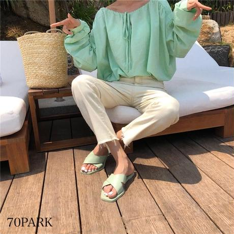 #Faux Leather Flat Sandals フェイクレザー クロス フラット カラー サンダル 全5色