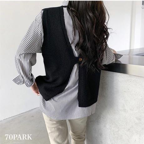 #Open Back Knit Vest バックオープン ニット ベスト 全4色 背中開き