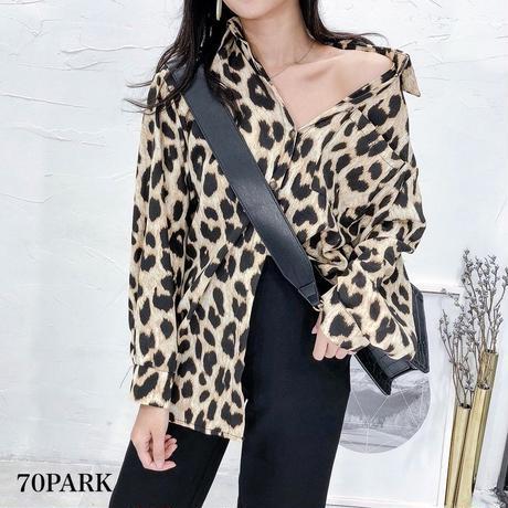 #Leopard Print Blouse  レオパード柄 プリント 長袖 シャツ 全2色 豹柄