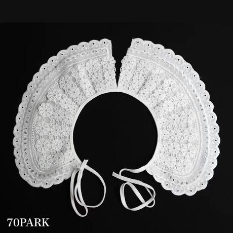 #Lace Detachable Collar  ビッグカラー フラワー レース 付け襟 ホワイト