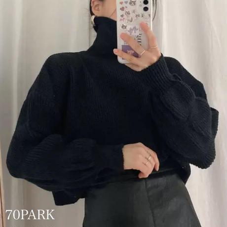 #ボリューム袖 タートルネック ショート丈 ニット トップス 全3色