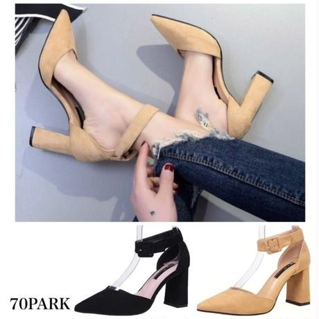 #Ankle Strap Chunky Heel Pumps  アンクルストラップ チャンキーヒール パンプス 全2色