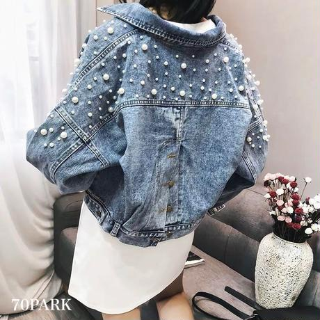 #Pearl Crop Denim Jacket   パール付 クロップド デニム ジャケット  Gジャン ブルー