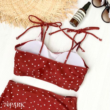 #Polka Dot High Waisted Bikini ドット柄 肩リボン ハイウエスト ビキニ レッド