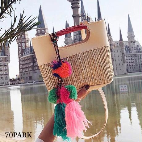 #2way Tassel Basket  Bag カラー タッセル付き かご ショルダー バッグ 全4色 カゴバッグ