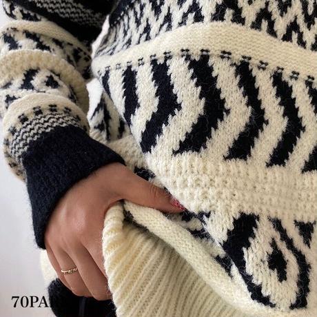 #Nordic Knit Sweater ノルディック柄 厚手 ルーズ ニット 全2色 セーター