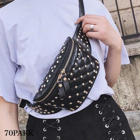 #Quilted Studded Bum Bag キルティング スタッズ ウエストポーチバッグ 全2色