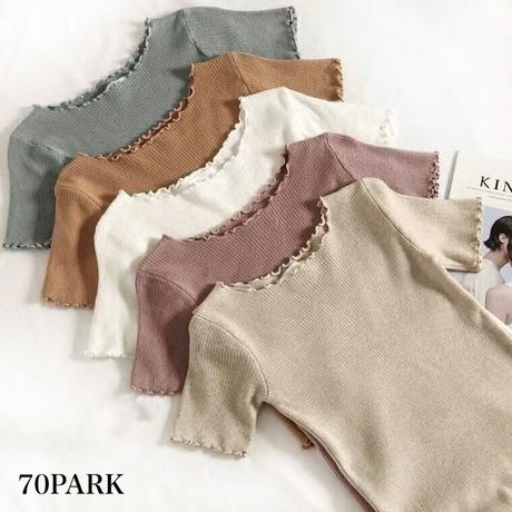 #Short Sleeve Rib Knit Top 裾フリル リブ 半袖 トップス 全6色 Tシャツ