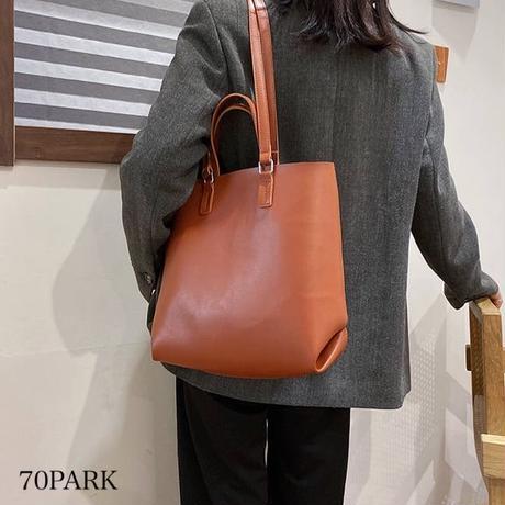 #2way ポーチ付 フェイクレザー 大容量 トートバッグ  全4色