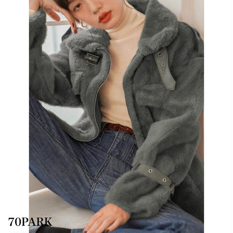 #Side Slit Faux Fur Jacket  サイドスリット フェイクファー ジャケット 全2色