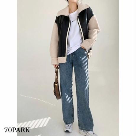 #Faux Leather Mustang Jacket  フェイクレザー × ボア ムスタンジャケット 全2色