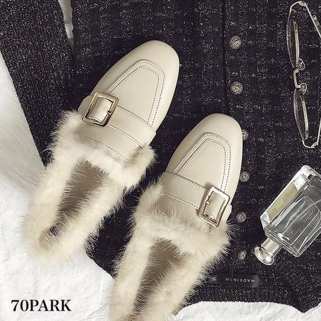 #2way  Faux Fur Loafer  ファー付 太ヒール パンプス 全2色 ローファー  スリッパ