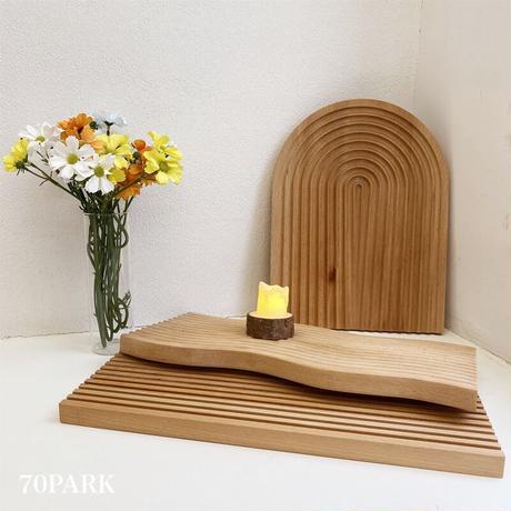 #ウエーブ ウッド トレイ  全3タイプ 木製プレート