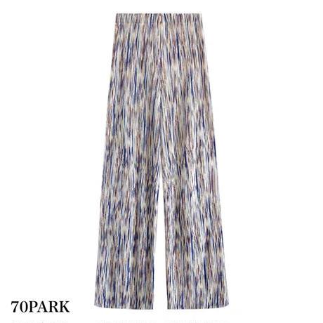 #Marble Pleats Pants ミックスカラー 細プリーツ ロング パンツ 全2色