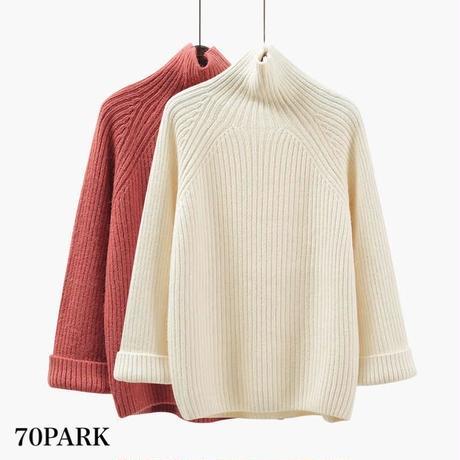 #Turtleneck Bell Sleeve Knit  ワイドスリーブ タートルネック ルーズ ニット 全4色