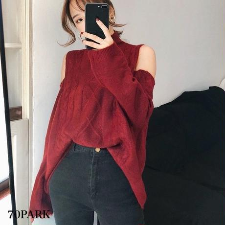 #Open Shoulder Cable Knit Top  ハイネック 肩開き ケーブル ニットトップス 全3色
