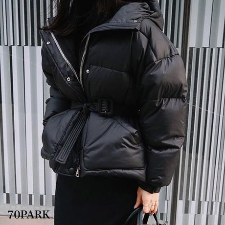 #Belted Padded Jacket ウエストベルト付 カラー 中綿 ジャケット 全4色 ダウンジャケット