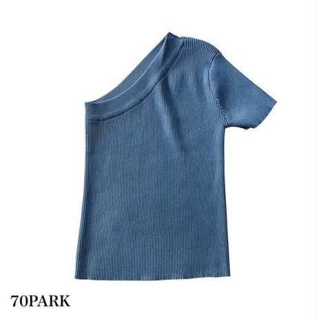 #One Shoulder Short Sleeve tops  ワンショルダー  半袖 リブ トップス  全3色