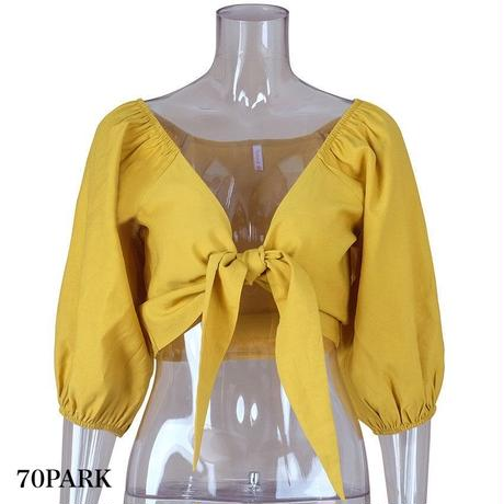 #Tie Front Blouse   リボン クロップトップ  ブラウス 全4色