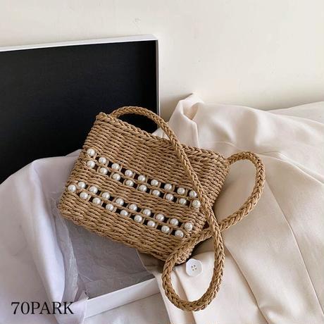 #パール 編み込み スクエア ショルダー かごバッグ 全2色