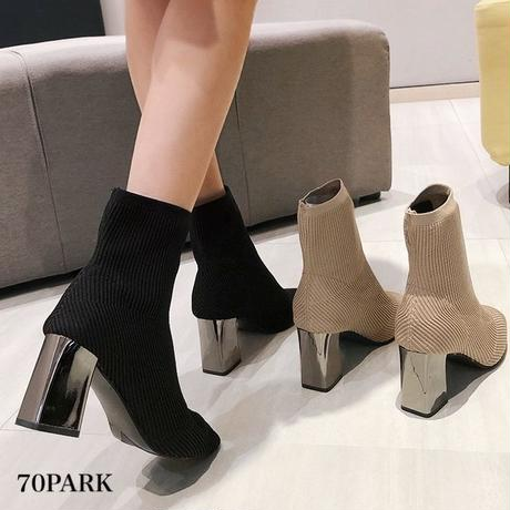 #Ribbed Sock Ankle Boots シルバー メタリック ヒール リブ ソックスブーツ 全2色