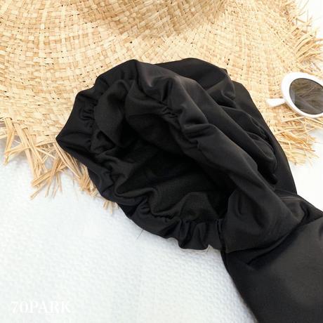 #Puff Sleeve Swimsuit  パフスリーブ ワンピース 水着 ブラック
