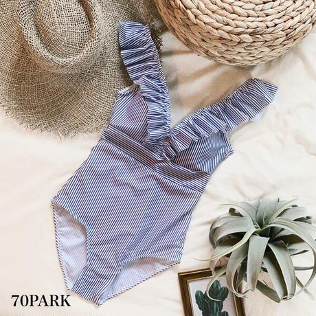 #Ruffle Shirred Stripe Swimsuit  ストライプ柄  ラッフル ワンピース 水着 ブルー