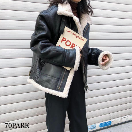 #Faux Leather Mustang Jacket  フェイクレザー ムスタン ジャケット  全2色  ボア