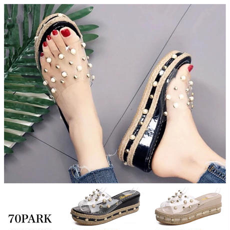 #PVC Pearl Sandals  パール ビジュー PVC クリア 厚底 ジュート サンダル 全2色