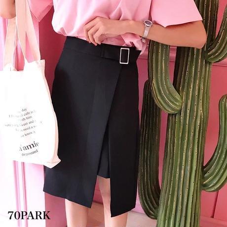 #Belted Buckle Slit Skirts  ラップ風 スリット スカートブラック  ベルト