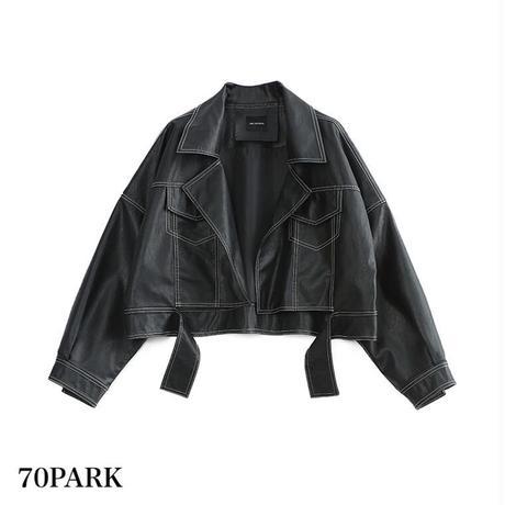 # ショート丈 オーバーサイズ PUレザー ジャケット ブラック Oversized Rider Jacket