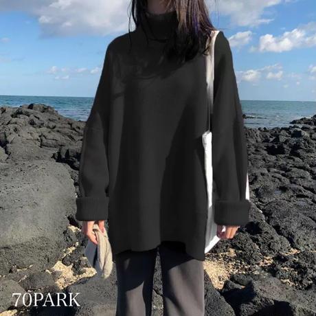 #オーバーサイズ ルーズ タートルネック ニット 全4色 セーター