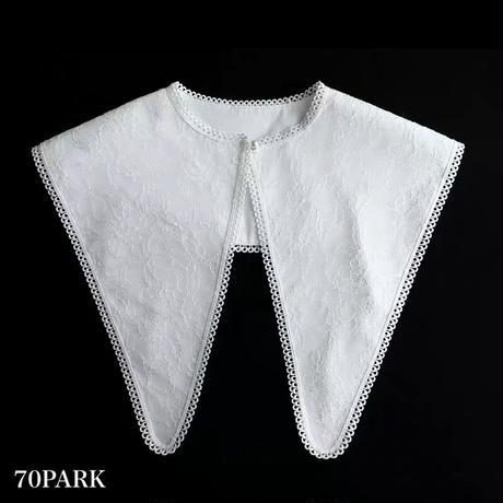 #Triangle Detachable Collar  ビッグカラー レース トライアングル 付け襟 ホワイト