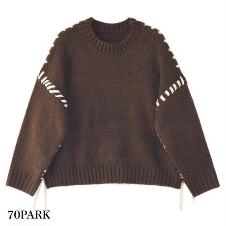 #Stitch Knit Tops クルーネック ステッチ ニット トップス 全2色 セーター
