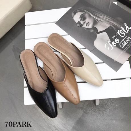 #Faux Leather Flat Mules シンプル フェイクレザー フラット ミュール 全3色