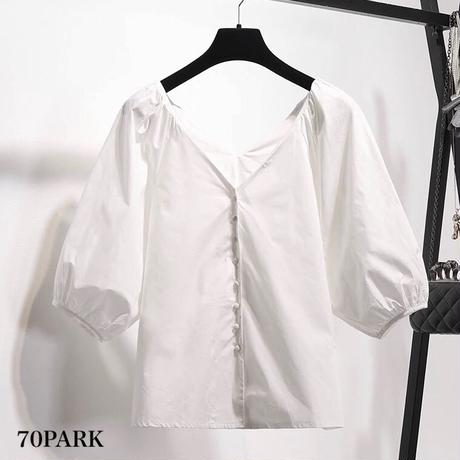 #V neck Balloon Sleeve Blouse Vネック ボリューム袖 オフショル ブラウス ホワイト
