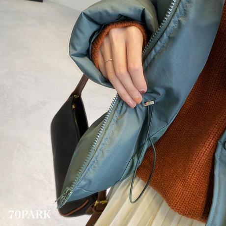 #Hooded  Padded Jacket ウエスト ドローストリング 中綿 ジャケット 全3色