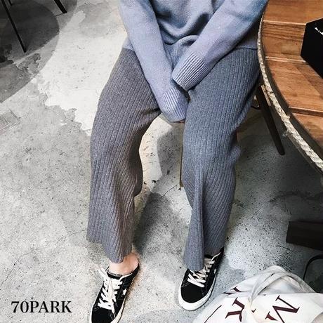 #Ribbed Knit Straight Leg Pants リブ ニット ストレート ロング パンツ 全4色