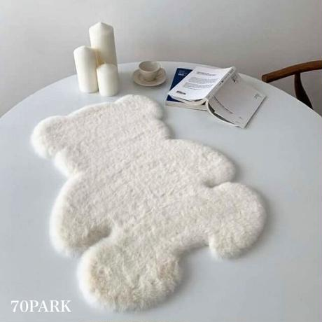 #クマさん フェイクファー ラグ マット  全2色 2サイズ