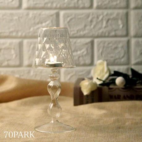#クリア ガラス キャンドルホルダー 全2色 テーブルランプ