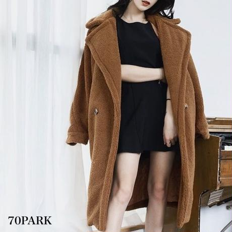 #Tailored  Boa Coat  テーラードカラー ボア ロング コート 全3色