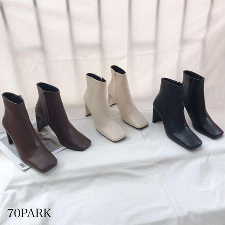#スクエアトゥ シンプル ハイヒール ショート ブーツ 全3色