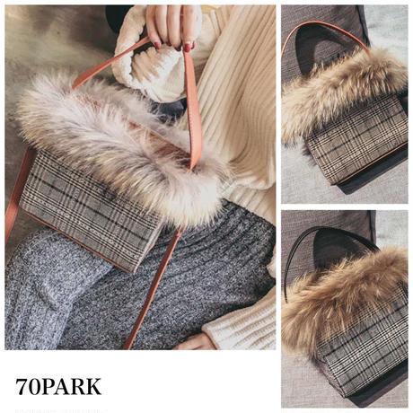 #2way  Glen Check Faux Fur Bag グレンチェック柄 ファー付 ボックスショルダーバッグ 全2色
