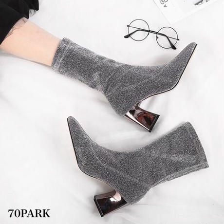 #Glitter Metal Heel Sock Boots グリッター メタリックヒール ソックスブーツ 全2色