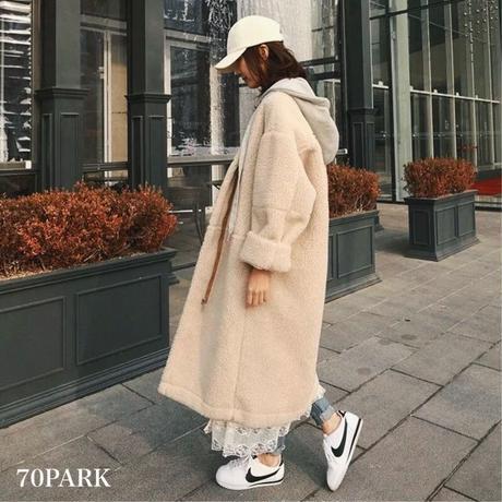 #Oversized Boa Coat ボア オーバーサイズ  ロング コート  ベージュ