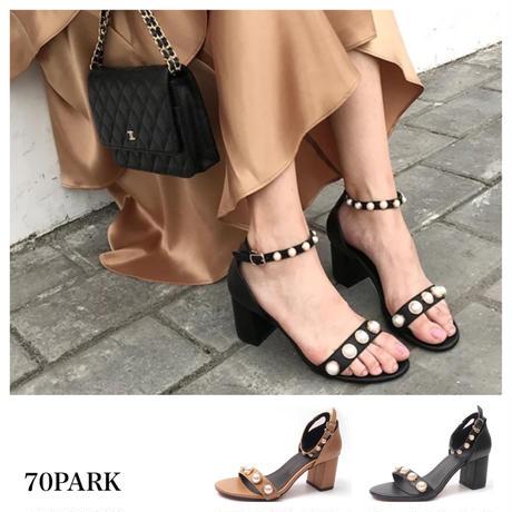 #Pearl Bijoux Sandals  パール付 アンクルストラップ サンダル 全2色 太ヒール