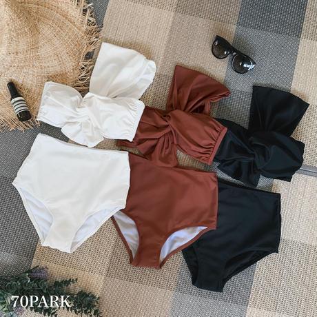 #One Shoulder Twist Bikini ワンショルダー ツイスト ハイウエスト ビキニ  全3色 水着