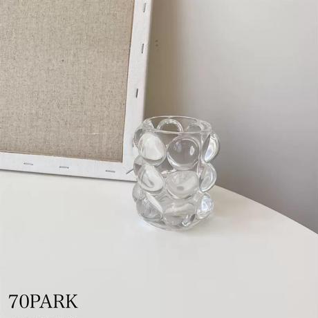 #クリア ガラス ミニ バブル ブラシスタンド