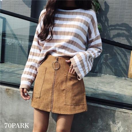 # Front Zip Mini Skirt フロントジップ フェイク スカート ショートパンツ 全4色